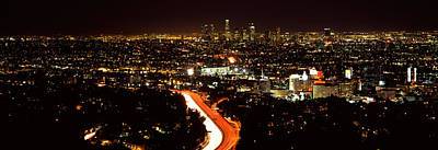 Crowd Scene Photograph - City Lit Up At Night, Hollywood, City by Panoramic Images