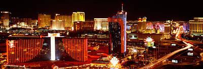 City Lit Up At Night, Las Vegas Art Print by Panoramic Images