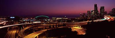City Lit Up At Night, Seattle, King Art Print