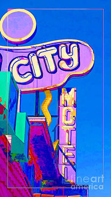 Photograph - City Motel Old Neon Sign Las Vegas Oil by Edward Fielding