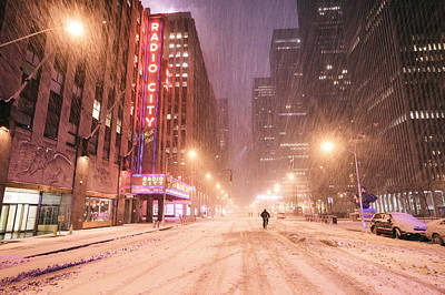 City Night In The Snow - New York City Art Print by Vivienne Gucwa
