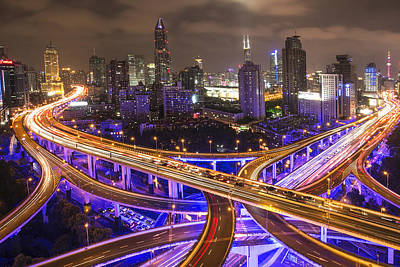 Photograph - City Night Landscape In Shanghai by David Trood