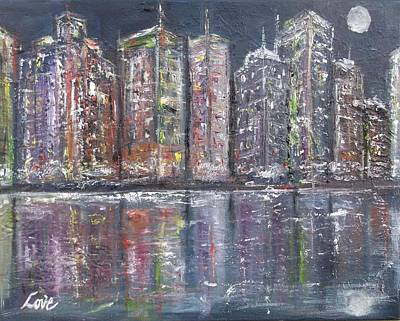 Painting - City Night Lights by Joseph Love