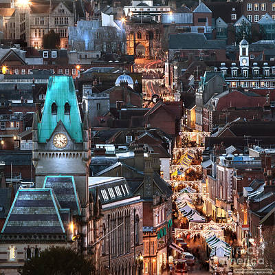 Clock Shop Photograph - City Night View At Christmas by Simon Bratt Photography LRPS
