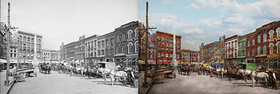 Confederate Monument Photograph - City - Norfolk Va - Hardware And Liquor - 1905 - Side By Side by Mike Savad