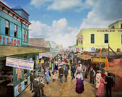 Hotdog Photograph - City - Ny - The Bowery 1900 by Mike Savad