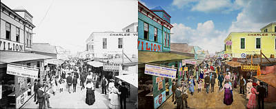 Hot Dogs Photograph - City - Ny - The Bowery 1900 - Side By Side by Mike Savad