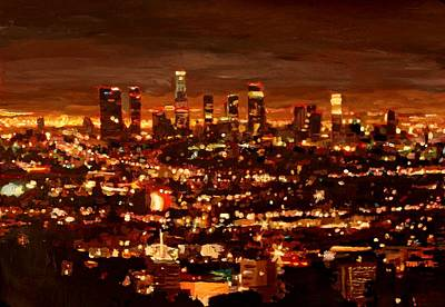 Skyline Painting - City Of Angels - City Of Light - Los Angeles by M Bleichner