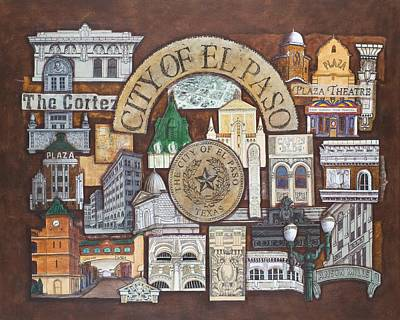 Detail Mixed Media - City Of El Paso by Candy Mayer