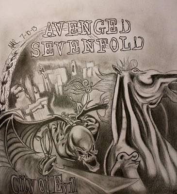 Album Covers Drawing - City Of Evil by Alexis Mariah