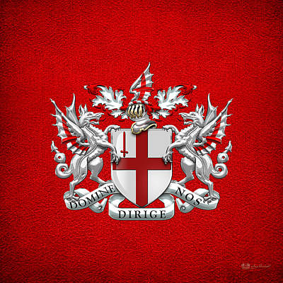 Digital Art - City Of London - Coat Of Arms Over Red Leather  by Serge Averbukh