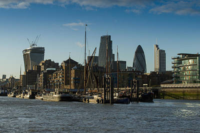 Photograph - City Of London River Barges Wapping by Gary Eason