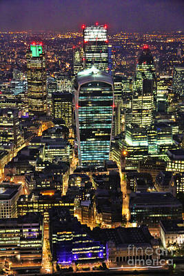Gherkin Photograph - City Of London Skyline At Night by Jasna Buncic