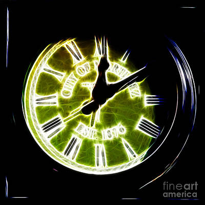 Photograph - City Of Martinez California Town Clock - 5d20862 - Electric by Wingsdomain Art and Photography