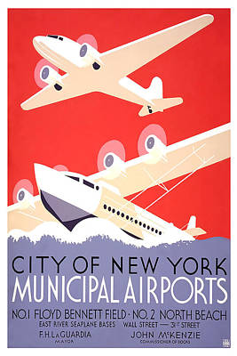 City Of New York Municipal Airports Art Print by David Wagner