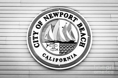 Plaque Photograph - City Of Newport Beach Sign Black And White Picture by Paul Velgos