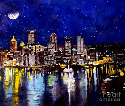 Fountain Painting - City Of Pittsburgh At The Point by Christopher Shellhammer