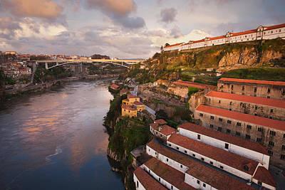 Wine Cellar Photograph - Vila Nova De Gaia And Porto At Sunset In Portugal by Artur Bogacki