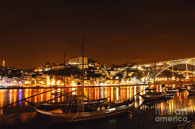 Wine Photograph - City Of Porto Portugal At Night by Oscar Gutierrez