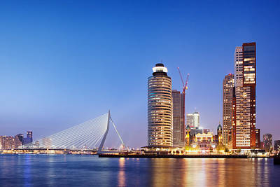 Maas Photograph - City Of Rotterdam Skyline In The Evening by Artur Bogacki