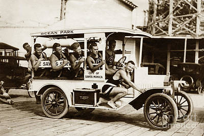 Photograph - City Of Santa Monica Life Saveing Service Ocean Park Circa 1917 by California Views Archives Mr Pat Hathaway Archives