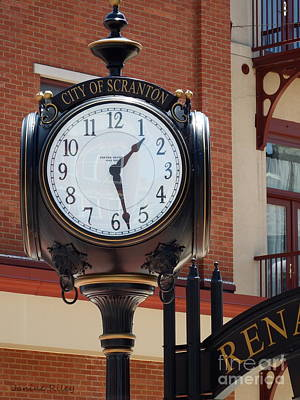 Photograph - City Of Scranton - Up Close - Street Clock  by Janine Riley
