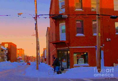 City Of Verdun Winter Sunset Pierrette Patates Art Of Montreal Street Scenes Carole Spandau Art Print by Carole Spandau