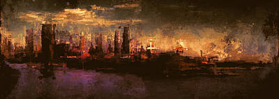 Abstract Skyline Mixed Media - City On The Sea by Lonnie Christopher
