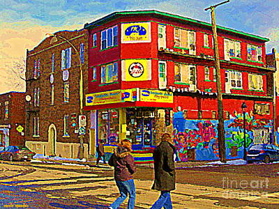Montreal Street Life Painting - City Paint Benjamin Moore Rue Rachel And Hotel And De Ville Montreals Oldest Paint Store  C Spandau  by Carole Spandau