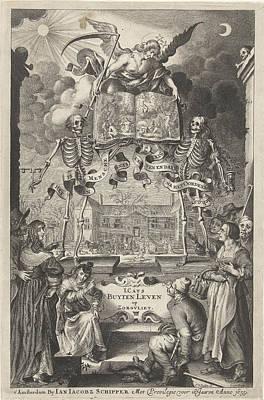 Versus Drawing - City People And Peasants Watching Two Skeletons And Angel by Cornelis Van Dalen Ii And Jan Jacobsz Schipper