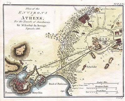 Drawing - City Plan Of Athens In Ancient Greece by Jean-Denis Barbie du Bocage
