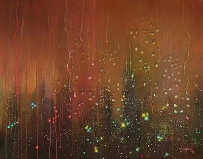 Chicago At Night Painting - City Rain Against The Window by Tom Shropshire