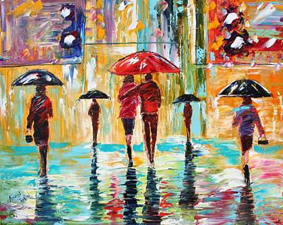 City Rain Art Print by Karen Tarlton