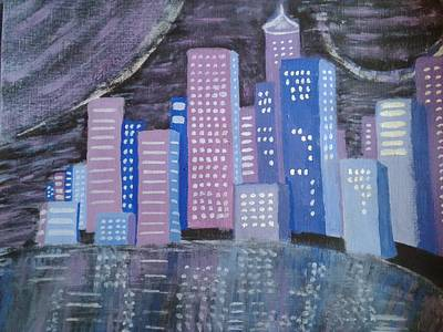 Moscow Skyline Painting - City Reflections by Erica  Darknell