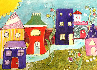 Whimsy Painting - City Scape by Lou Belcher