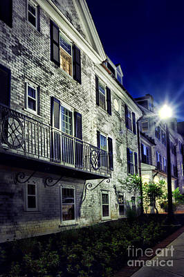 Streetlight Photograph - City Scene At Night by HD Connelly