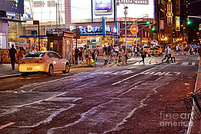Photograph - City Scene - Crossing The Street - The Lights Of New York by Miriam Danar