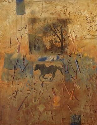 Encaustic Horse Painting - City Series-number Four by Marina Hanacek