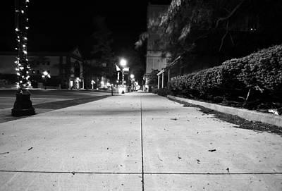 City Sidewalk At Night Art Print