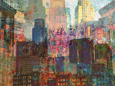 Surreal Art Mixed Media - City Skyline Abstract Scene by John Fish