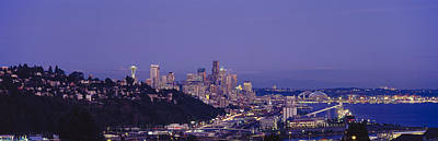 Seattle Skyline Photograph - City Skyline At Dusk, Seattle, King by Panoramic Images