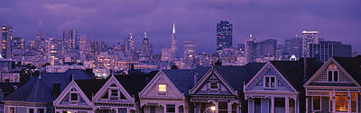 City Skyline At Night, Alamo Square Art Print