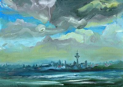 City Skyline Impressionist Painting Art Print
