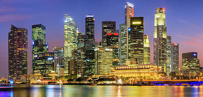 City Skyline - Singapore At Dusk 35mpix Art Print by Hadynyah