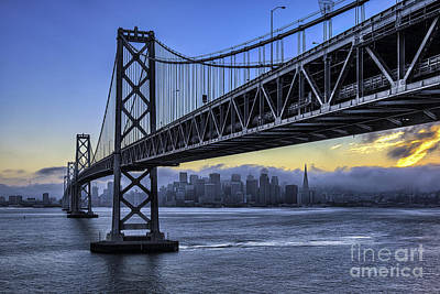 City Skyline Under The Bay Bridge Art Print by Peter Dang