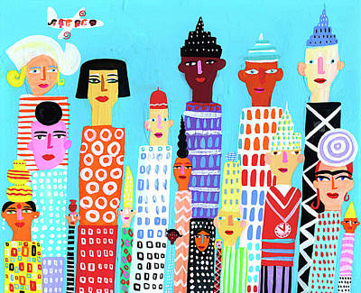 People Digital Art - City Skyscraper Buildings With by Christopher Corr