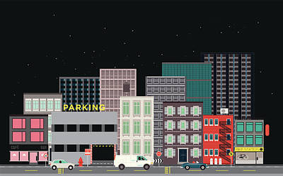 Digital Art - City Street, Vehicles And Parking by Robert Hanson