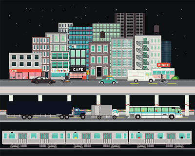 People Digital Art - City Street With Various Modes Of by Robert Hanson