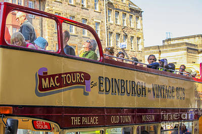Photograph - City Tour In Edinburgh In Vintage Bus by Patricia Hofmeester