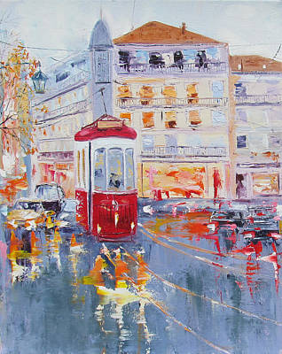 Tram Red Painting - City Tram Or Street Car by Elena Nayman